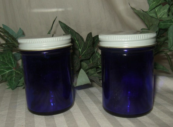 Vintage Medicine jars cobalt ointment jars bottles with lid two apothecary pharmaceutical new old stock.
