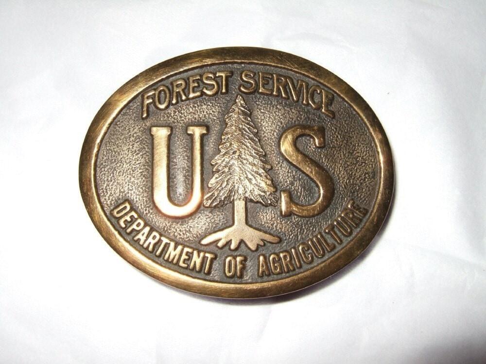 Us Forest Service Brass Belt Buckle