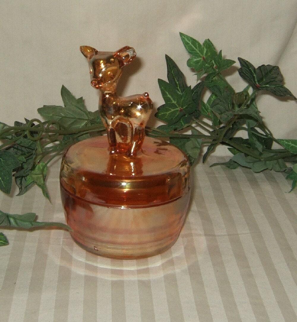 Vintage Marigold Powder Jar Jeannette Carnival Glass Deer
