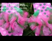 Pink and Green Polka Dot Tulle Flip Flops