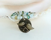 Love Bird Necklace Fresh Water Pearls and Glass Beads