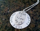 Men's Personalized Name Hand Stamped Sterling Necklace- Family and Dates, Wife, Husband, Kids, Personalized for Dad, Grad