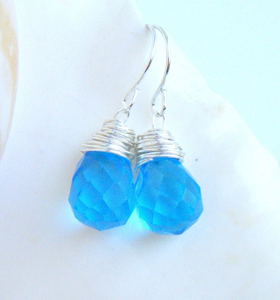 Blue Briolette Earrings Sterling Silver
