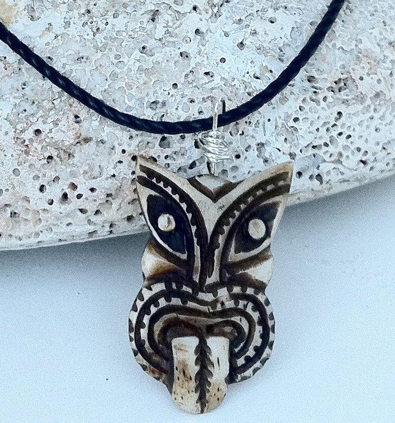 mens necklace wood hawaiian tiki god