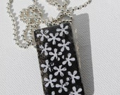 Black with White Flowers Glass Pendant/ Handbag Charm