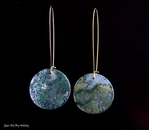 Gold Plated Earrings with Moss Agate Round Accent