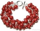Indian Summer Swarovski Crystal & Red Coral Gemcolors Cluster Charm Bracelet - whimsydaisydesigns
