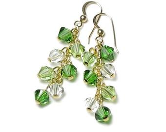 EMERALD KISS Bright Green Swarovski Crystal Earrings