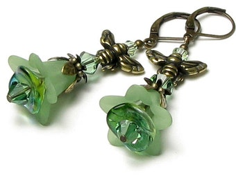 Sweet Honeybee Swarovski Crystal Green Flower Antique Brass Leverback Earrings, Bumble Bee Acrylic Flower Jewelry, Spring Czech Glass Beads