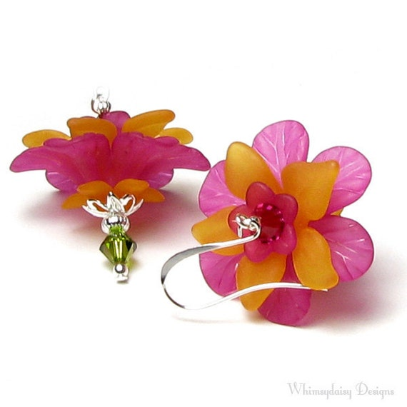Tropical Mango Citrus Floral Crystal Earrings, Hot Pink Bright Orange Flower Earrings, Summer Earrings, Vacation Jewelry, Hawaiian Earrings