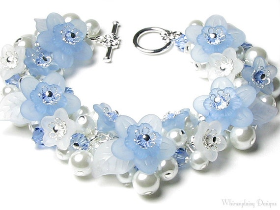 Blue Ice Floral Crystal White Pearl Charm Bracelet