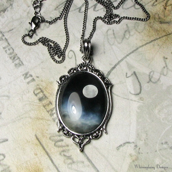 Midnight Sky Full Moon Gothic Romance Antique Silver Pendant Necklace