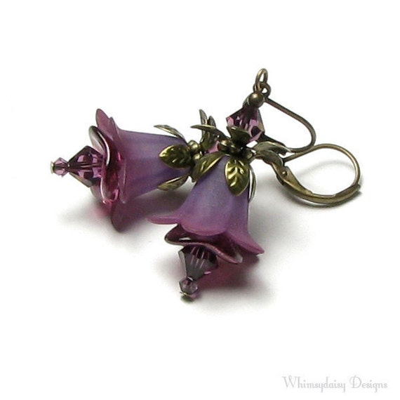 Raisin Berry Floral Crystal Antique Brass Two Tone Hand Dyed Flower Earrings