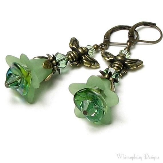 Sweet Honeybee Green Floral Swarovski Crystal Antique Brass Leverback Earrings