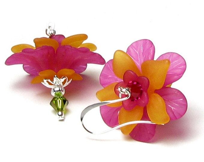Tropical Mango Citrus Floral Crystal Earrings, Hot Pink Bright Orange Flower Earrings, Summer Earrings, Vacation Jewelry, Hawaiian Earrings