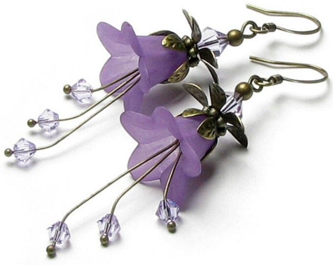 Romantic Lilac Floral Fantasy Swarovski Crystal Antique Brass Earrings, Long Dangle Violet Flower Earrings, Special Occasion, Gift for Women