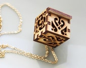 Victorian Locket Necklace - Lace Filigree Designs in Wood