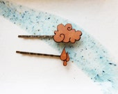 "Hair Pin Set - Rain Drop and Cloud ""Rainy Day"" Leather Hair Accessory Set"