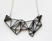 Geometric Necklace - Prism & Triangles Minimalist Necklace in Black