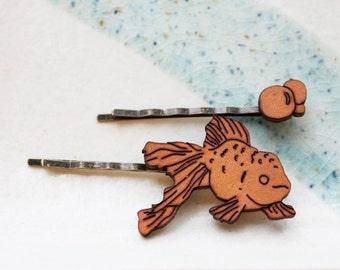 Hair Pin Set - Fish and Bubbles Hair Accessory Set