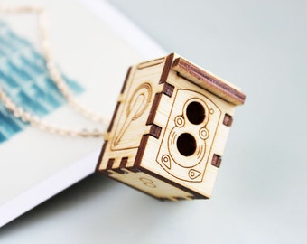 Rolleiflex Camera Locket Necklace - Open/Closes, Replica