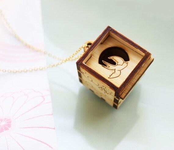 Swallows in Rain Treasure Locket Necklace