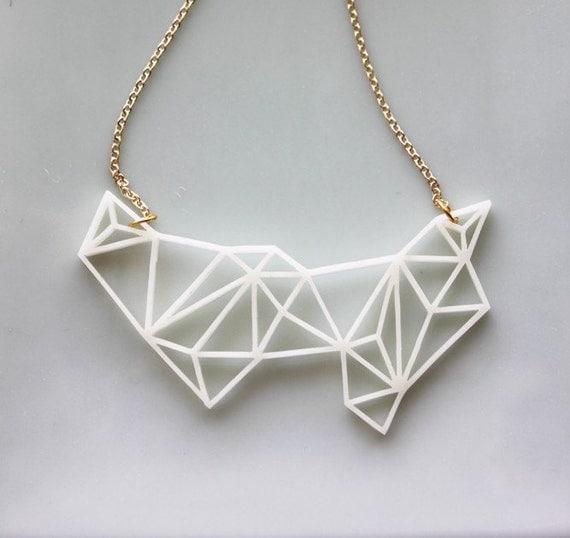 Geometric necklace modern minimalist triangle and prism for Minimal art jewelry