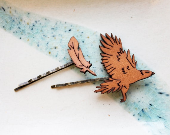 Hair Pin Set - Leather Bird and Feather Hair Accessories