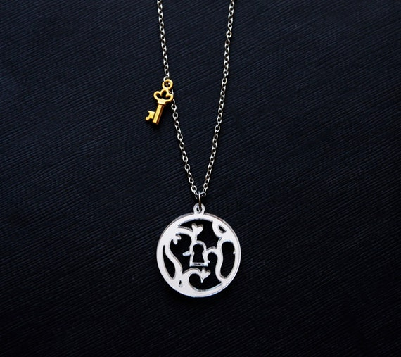 """Lock and Key Necklace SALE """"Key to My Heart"""" Mirror Keyhole and Skeleton Key Pendant"""