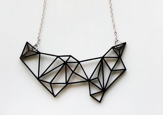 Geometric Necklace Black - Prism & Triangles Minimalist Necklace in Black