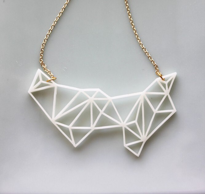 Geometric Necklace Modern Minimalist Triangle And Prism