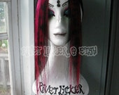 Red/Black Leopard Print human hair clip in fringe