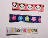 Pay it forword listing PIF 3 baby girl alligator ribbon covered clips panda flowers I love you