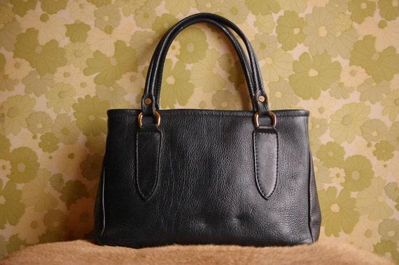 Vintage Black Leather Granny Handbag/Purse