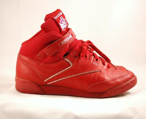Vintage Red High Top Velcro Reeboks Basketball/Skate Shoes Womens US 7 UK 5 EUR 8