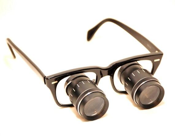 Vintage German Black Binocular Magnified Steampunk Glasses