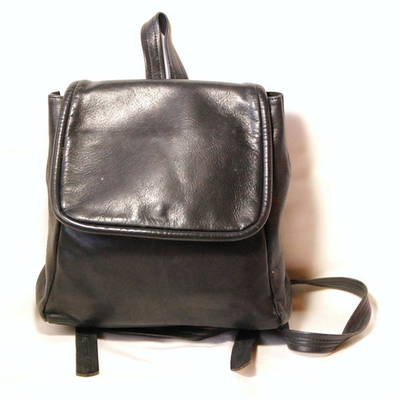 Vintage Black Soft Leather Backpack