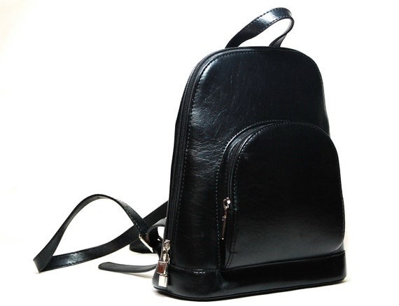 Vintage Black Leather Backpack/Pouch