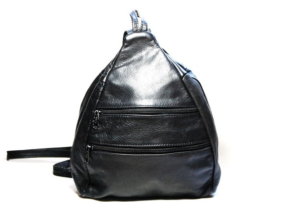 Black Leather Zip Up Backpack/Purse