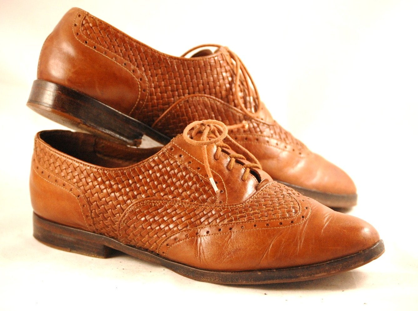 vintage bass woven leather oxford shoes womens us 9