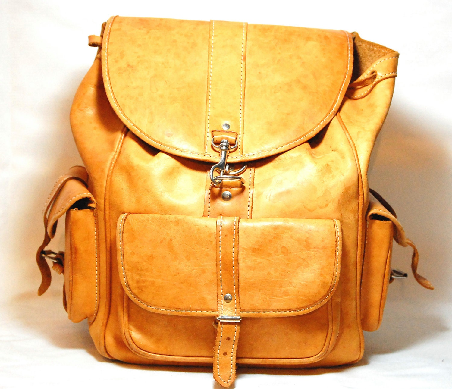 Durable Vintage Tan/Brown Leather Backpack by Ramenzombie on Etsy