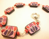 Stained glass bracelet of polymer clay & glass beads