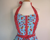 Retro apron with side ruffles, Strawberry and Cherry. 1950s vintage inspired, fully lined.