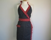 Retro apron, Black and White. 1950s inspired, fully lined.
