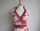 Retro apron, Red Orange floral on white fabric. 1950s inspired, fully lined.