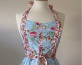 Retro apron side ruffles, vintage floral fusion pattern on blue fabric. 1950s inspired, fully lined.