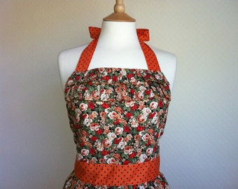 Retro apron with ruffles, vintage orange and peach floral pattern. 1950s inspired, fully lined.