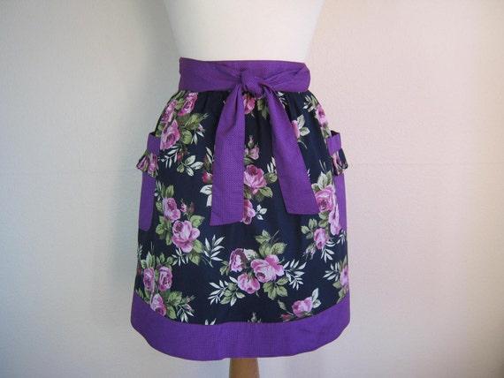 Retro apron, purple mauve floral, Half Apron 1950s inspired.