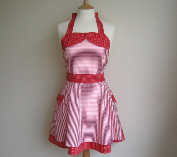 Retro apron, red and white striped circular skirt, 1950s vintage inspired.