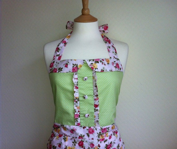 Retro apron with collar, white polka dot on a green, 1950s vintage inspired, fully lined.